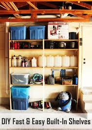 Built In Wall Shelves Diy Fast And Easy Built In Wall Garage Shelves