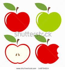 green and red apples clipart. apples. set of red, green, bitten and half fruit with leaf. green red apples clipart