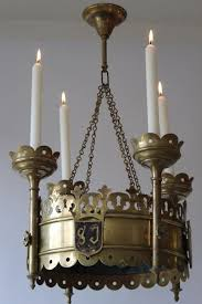 2 copper brass church candle holders chandeliers end of 19th century neo gothic