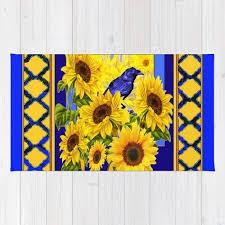 blue crow yellow sunflowers blue lattice rug