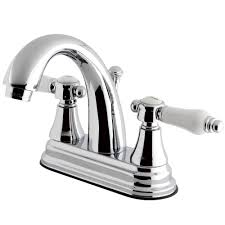 kingston brass english porcelain 4 in centerset 2 handle high arc bathroom faucet