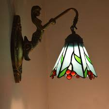 image of hanging stained glass wall sconce