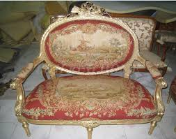 handmade living room furniture. Antique Set Of Sofa And Chairs, Handmade Living Room Furniture, Aubusson Cover, Woolen Material Artificial Carving-in Sofas From Furniture