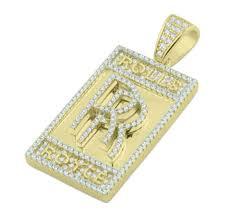 rolls royce custom pendant in silver gold tone with cz mens fashion pendant