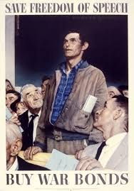 the office poster. Save Freedom Of Speech, By Norman Rockwell, ©1943 SEPS: The Curtis Publishing Co., Agent, Printed Government Printing Office For War Poster