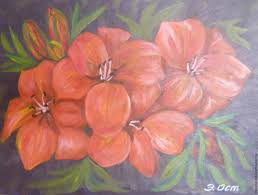flower paintings handmade livemaster handmade flaming lilies