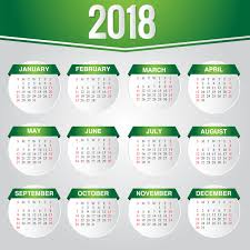 Calender Design Template Green Calendar 2018 Template Vector Design Free Download