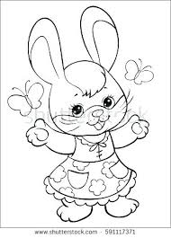 Coloring Outline Page Cartoon Rabbit Carrot Stock Vector Pages