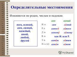 Тест по русскому языку класс по теме класс Местоимение  Контрольная работа определительные местоимения
