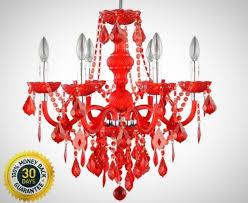 hampton bay maria theresa 6 light chrome and red acrylic chandelier lighting