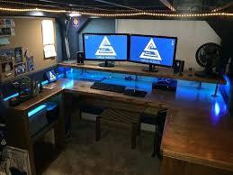 custom pc built into desk corner workstation