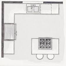 With workstations on two adjacent walls, this plan adds an island. It works  best in a 10x10-foot or larger room and makes space for a second cook.