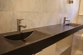 steel bathroom vanity. Attractive Long Black Bathroom Countertop And Two Shallow Sinks Of Nice On Stainless Steel Countertops Vanity