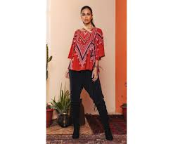 Buy Indian Designer Rust <b>Printed Abstract</b> Top by labelritukumar ...