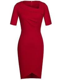 Homeyee Womens Elegant Lapel Slim Bodycon Formal Vintage Red Bridesmaid Dress B327