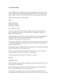 Cv Cover Letter Sample For It Free Cover Letter Template For Resume