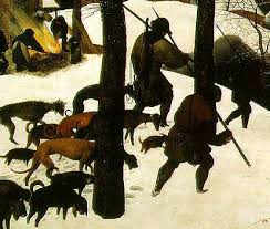 bruegel s hunters in the snow talk for terrain gallery  there are magpies perched observing in different directions on the tree branches and one flying wings outstretched and there are the three hunters