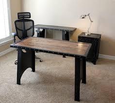 Industrial office desk Reception Image Etsy Vintage Industrial Office Desk Steampunk Table Riveted Etsy