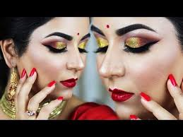 the perfect party makeup for red saree outfit gold glitter cut crease red lips i smithadbeauty