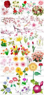 春夏秋冬の花のイラストイラストレーター素材aieps商用可能