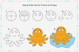 Small Picture 8 Step By Step Tutorial For Drawing An Octopus For Kids