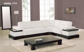 Living Room  White Sectional Leather Sofa Brown Cushions Dark - Living room furniture white