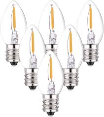 C7 Light Bulbs 6 Pack C7 Led Bulbs 0 5 Watts Led Filament Night Light Bulb Edison Style Led Sign Light E12 Candelabra Base Lamp Clear Glass 4 Watts Equal Candel