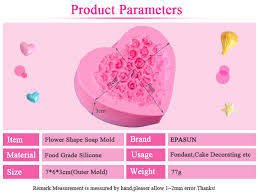 EPASUN Lovely Heart Silicone <b>Soap</b> Mold <b>Flower Rose</b> Diy Form ...