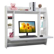 homcom floating wall mount office computer desk. Home Office Computer Table Floating Wall Mount Desk With Storage Shelves White Homcom 0