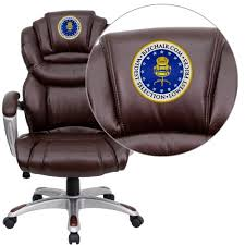 Captivating High Back Executive Office Chair At Flash Furniture Embroidered Brown Leather