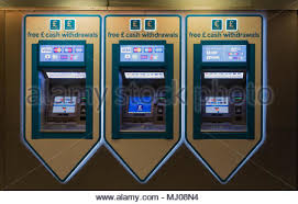 Mj Vending Machines Adorable Cash Withdrawl Automated Vending Machines In A Line Lit From