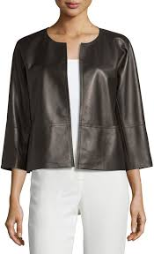 lafayette 148 new york ritchie open front leather jacket espresso