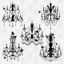 black silhouette vector set of chandelier vectors with birds vector by pinkpueblo