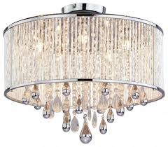 luxury 5 light polished chrome crystal drum shade flush mount chandelier for ceiling lighting design
