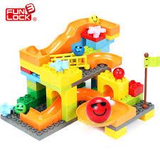 target marble run funlock duplo 70pcs marble run plastic slide building blocks set for kid fun