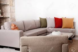 modern couch withe coloured pillow stock photo picture and