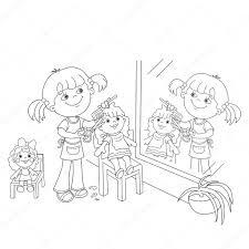Kleurplaat Pagina Overzicht Van Meisje Met Spelen In De Kapper