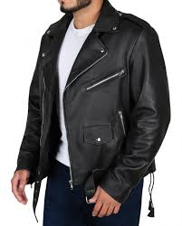 mens classic brando motorcycle leather jacket