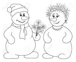 クリスマスの休日の漫画雪玉男と雪片白い背景ベクトル イラストで黒い輪郭の花の花束を持つ女性