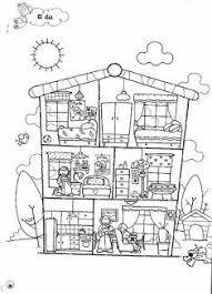 Kleurplaat Binnenkant Huis Wonen School Ideeën Huis Tekenen At