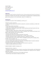 Janitor Job Duties Resume Fair With Objective Examples 817373 Sample