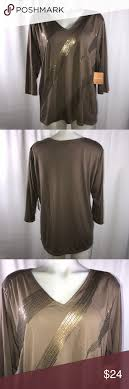 Ellen Tracy Sequin Blouse (Q) V-neck Sparkly sequin Taupe color. Brand