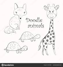 Sketched Fox Collection Outline Hand Sketched Animals