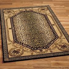 leopard print rug with decorative edge for floor decoration ideas
