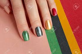 Red And Yellow Nail Designs Multi Colored Mother Of Pearl Nail Art Nail Design Red Green