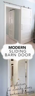 Barn door closet door Plans Modernbarndoorbanner Deeply Southern Home Modern Barn Doors An Easy Solution To Awkward Entries