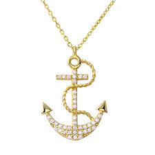 details about 14k yellow gold cubic zirconia navy anchor pendant necklace 16 2 extender