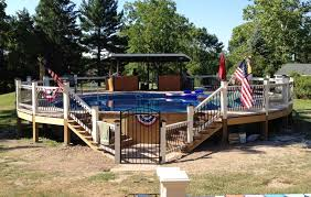above ground round pool with deck. This Above Ground Pool Deck Shows Off Round With O