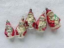 Alt Antik 5x Glas Nikolaus Weihnachtsmann Christbaumschmuck
