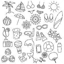 夏 アイコンセット 手描き イラスト素材 5661784 フォトライブ